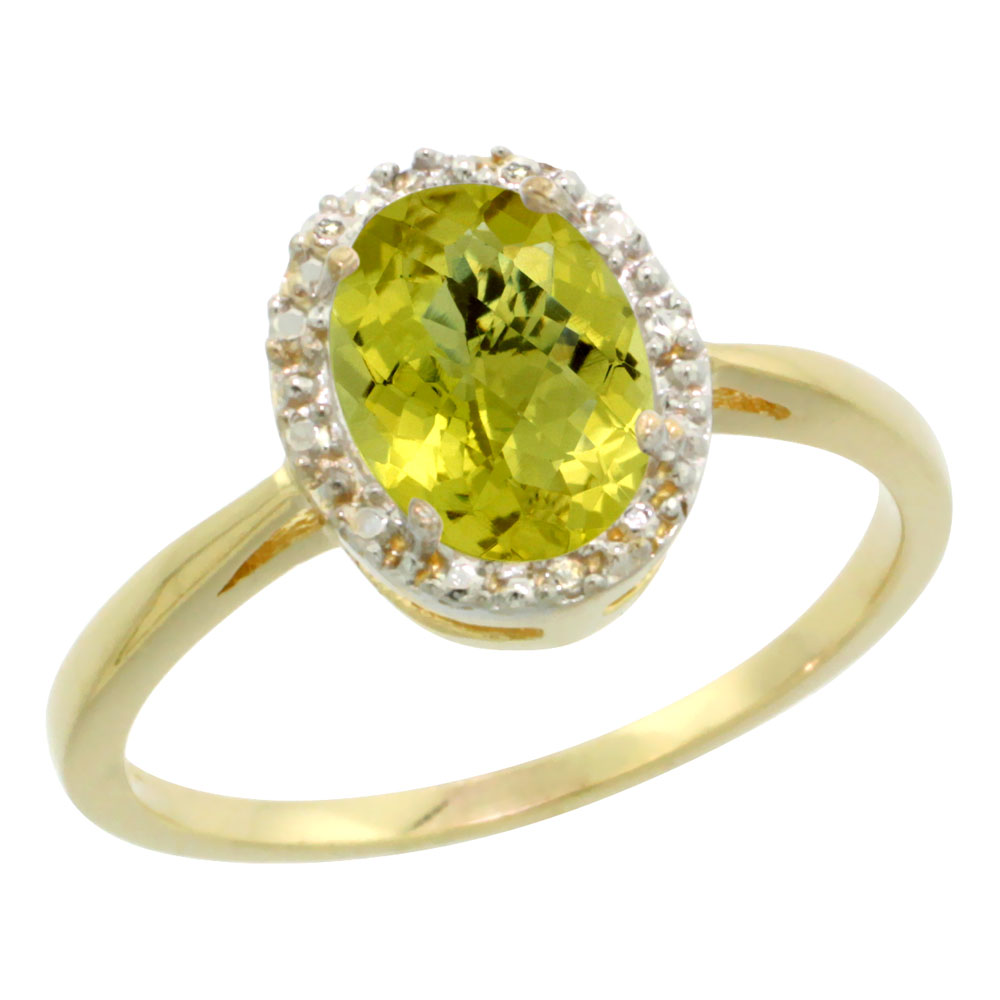 14K Yellow Gold Natural Lemon Quartz Diamond Halo Ring Oval 8X6mm, sizes 5 10