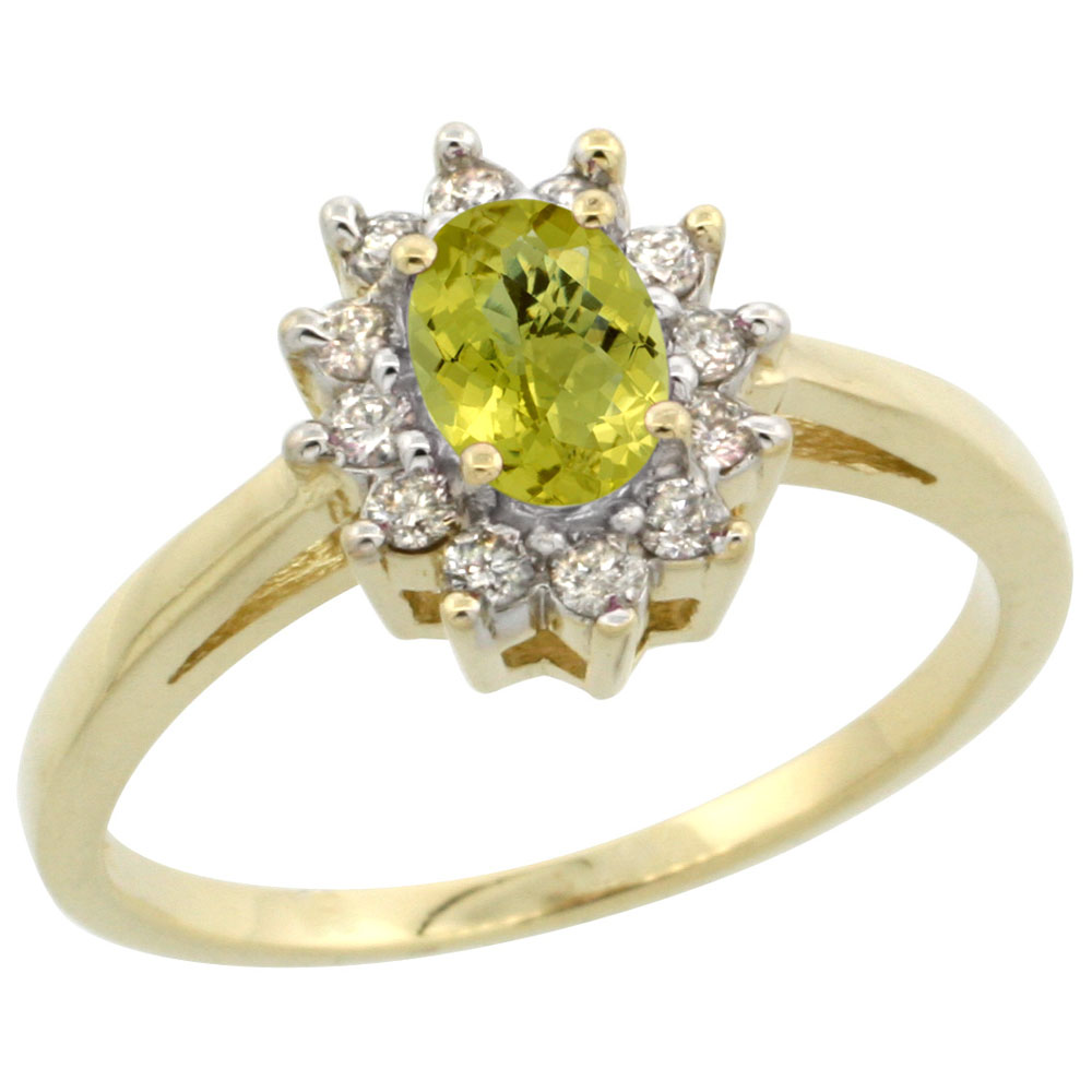 10K Yellow Gold Natural Lemon Quartz Flower Diamond Halo Ring Oval 6x4 mm, sizes 5 10