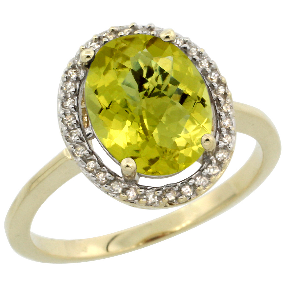 10K Yellow Gold Diamond Halo Natural Lemon Quartz Engagement Ring Oval 10x8 mm, sizes 5 10