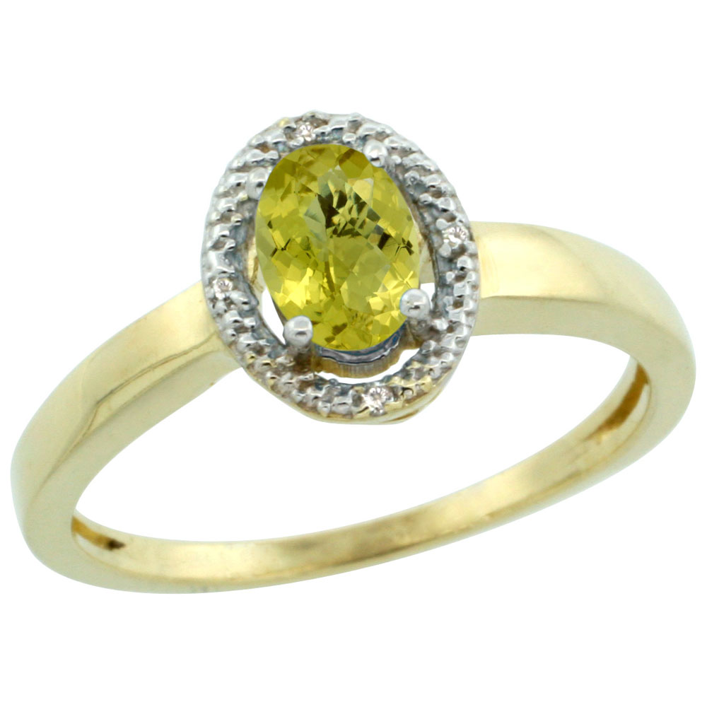 10K Yellow Gold Diamond Halo Natural Lemon Quartz Engagement Ring Oval 6X4 mm, sizes 5-10