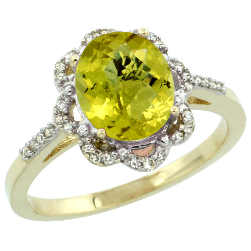 10K Yellow Gold Diamond Halo Natural Lemon Quartz Engagement Ring Oval 9x7mm, sizes 5-10