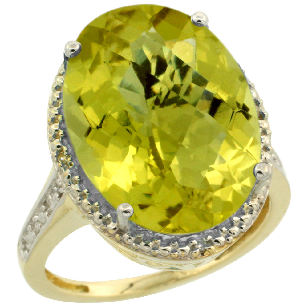 10K Yellow Gold Diamond Natural Lemon Quartz Ring Oval 18x13mm, sizes 5-10