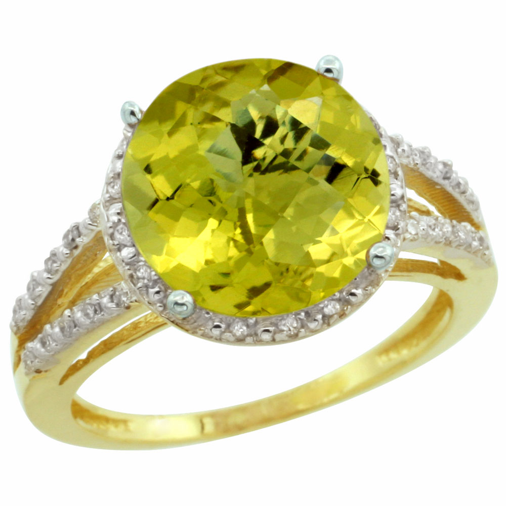 10K Yellow Gold Diamond Natural Lemon Quartz Ring Round 11mm, sizes 5-10
