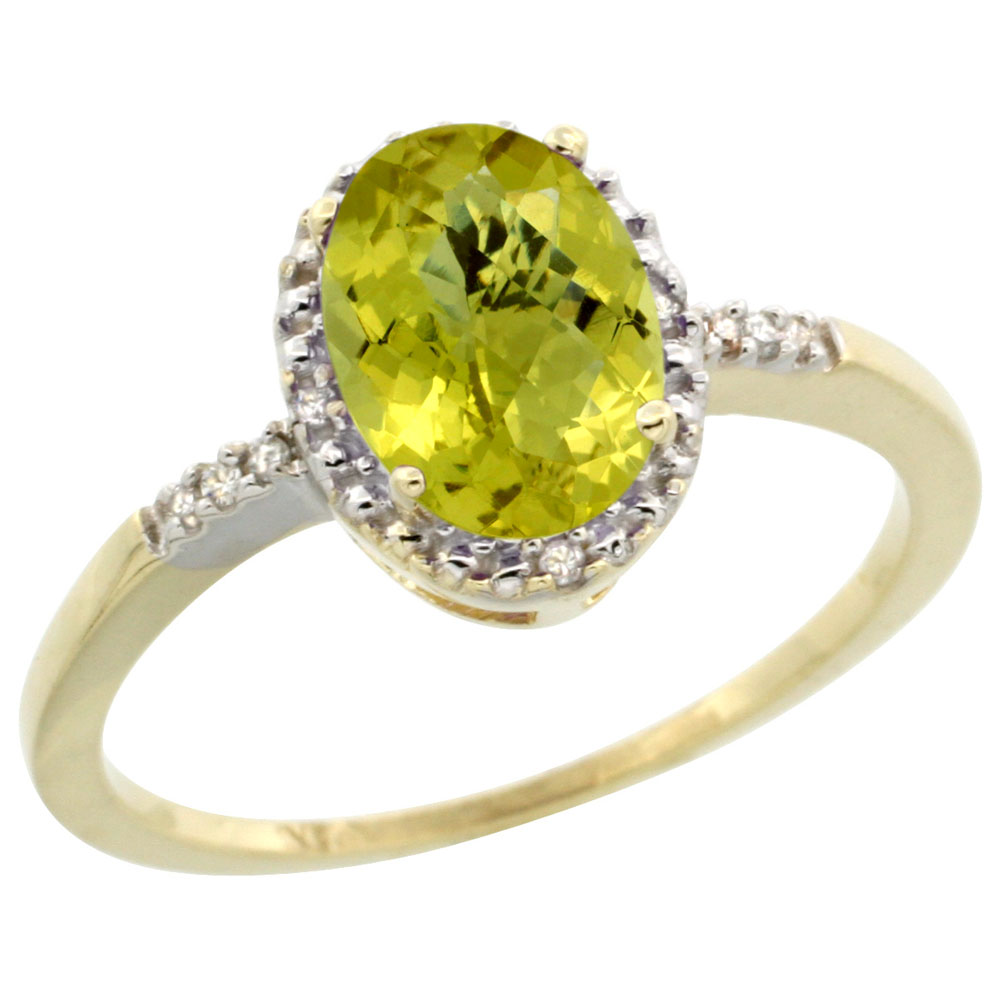 10K Yellow Gold Diamond Natural Lemon Quartz Ring Oval 8x6mm, sizes 5-10