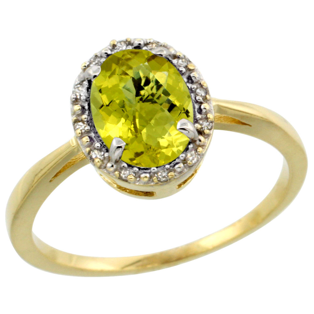 14K Yellow Gold Natural Lemon Quartz Ring Oval 8x6 mm Diamond Halo, sizes 5-10