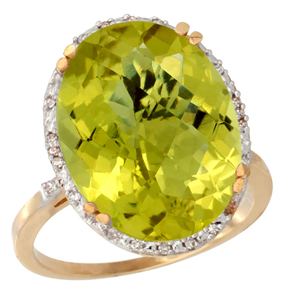 10k Yellow Gold Natural Lemon Quartz Ring Large Oval 18x13mm Diamond Halo, sizes 5-10