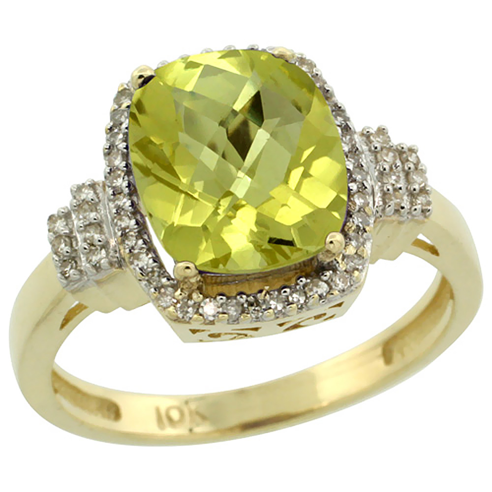 14K Yellow Gold Natural Lemon Quartz Ring Cushion-cut 9x7mm Diamond Halo, sizes 5-10