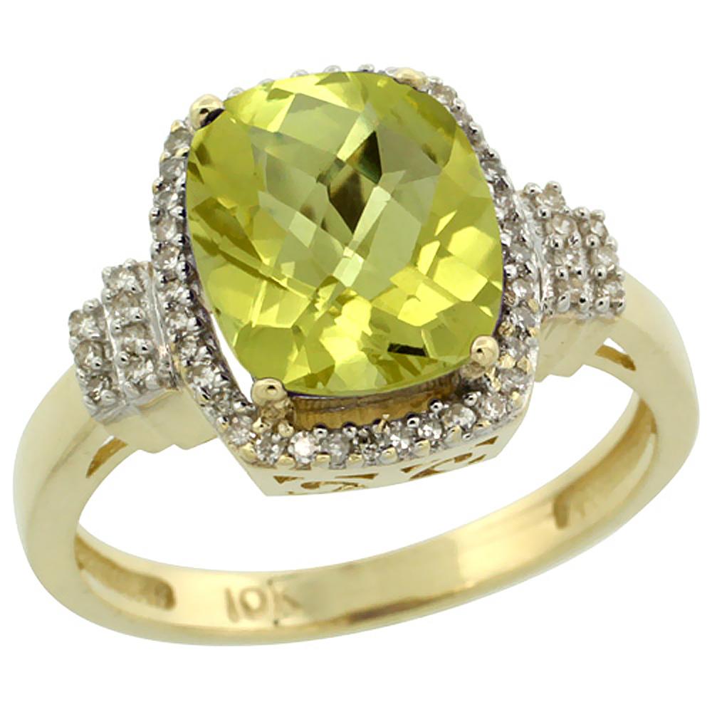 14K Yellow Gold Natural Lemon Quartz Ring Cushion-cut 9x7mm Diamond Halo, sizes 5-10