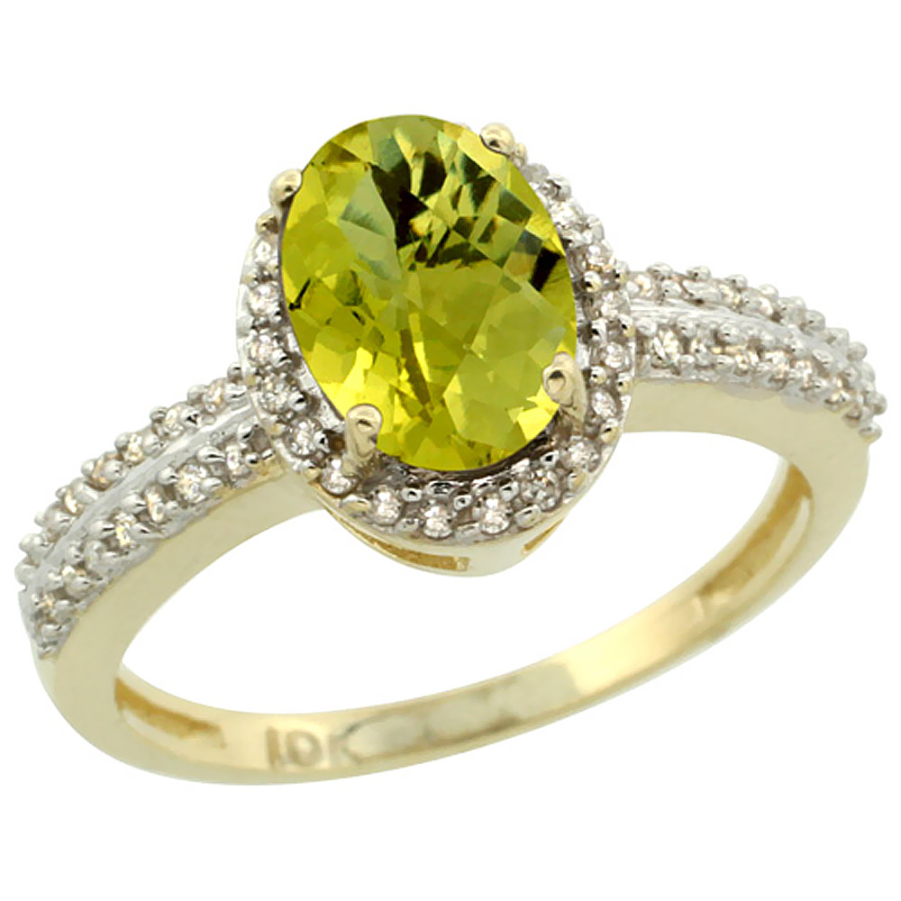 10k Yellow Gold Natural Lemon Quartz Ring Oval 8x6mm Diamond Halo, sizes 5-10