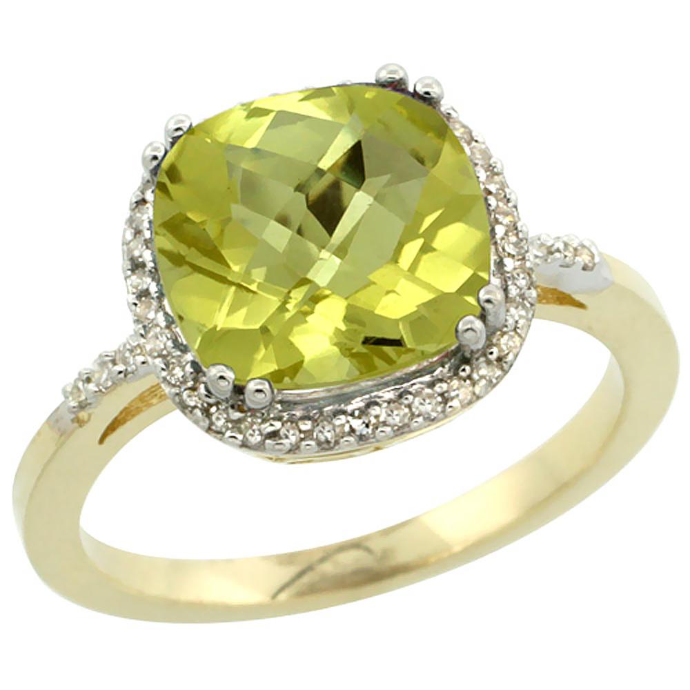 14K Yellow Gold Diamond Natural Lemon Quartz Ring Cushion-cut 9x9mm, sizes 5-10