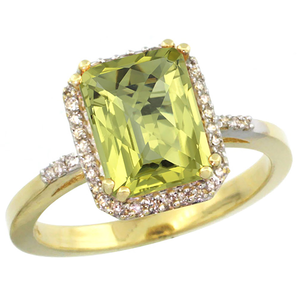 14K Yellow Gold Diamond Natural Lemon Quartz Ring Emerald-cut 9x7mm, sizes 5-10