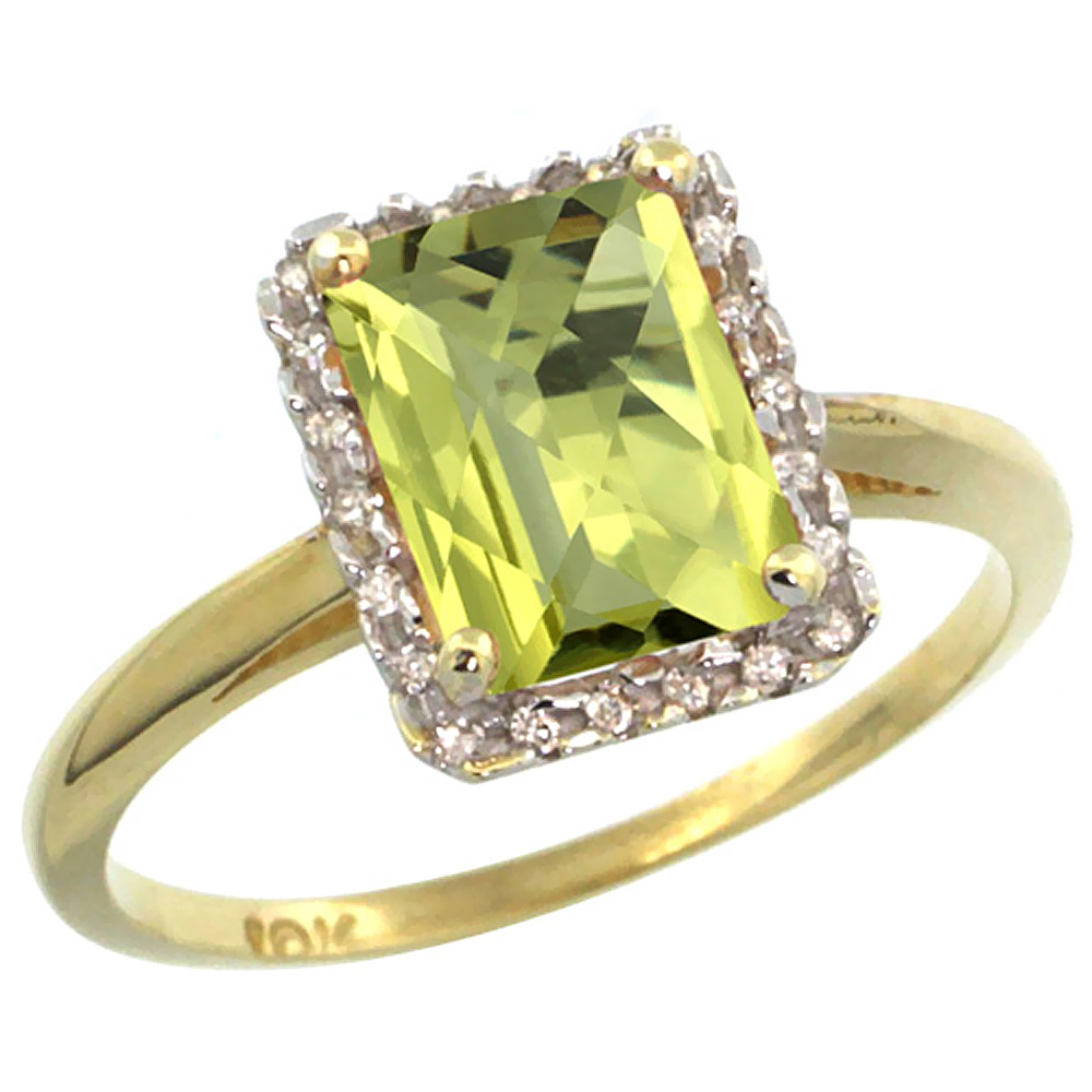 14K Yellow Gold Diamond Natural Lemon Quartz Ring Emerald-cut 8x6mm, sizes 5-10