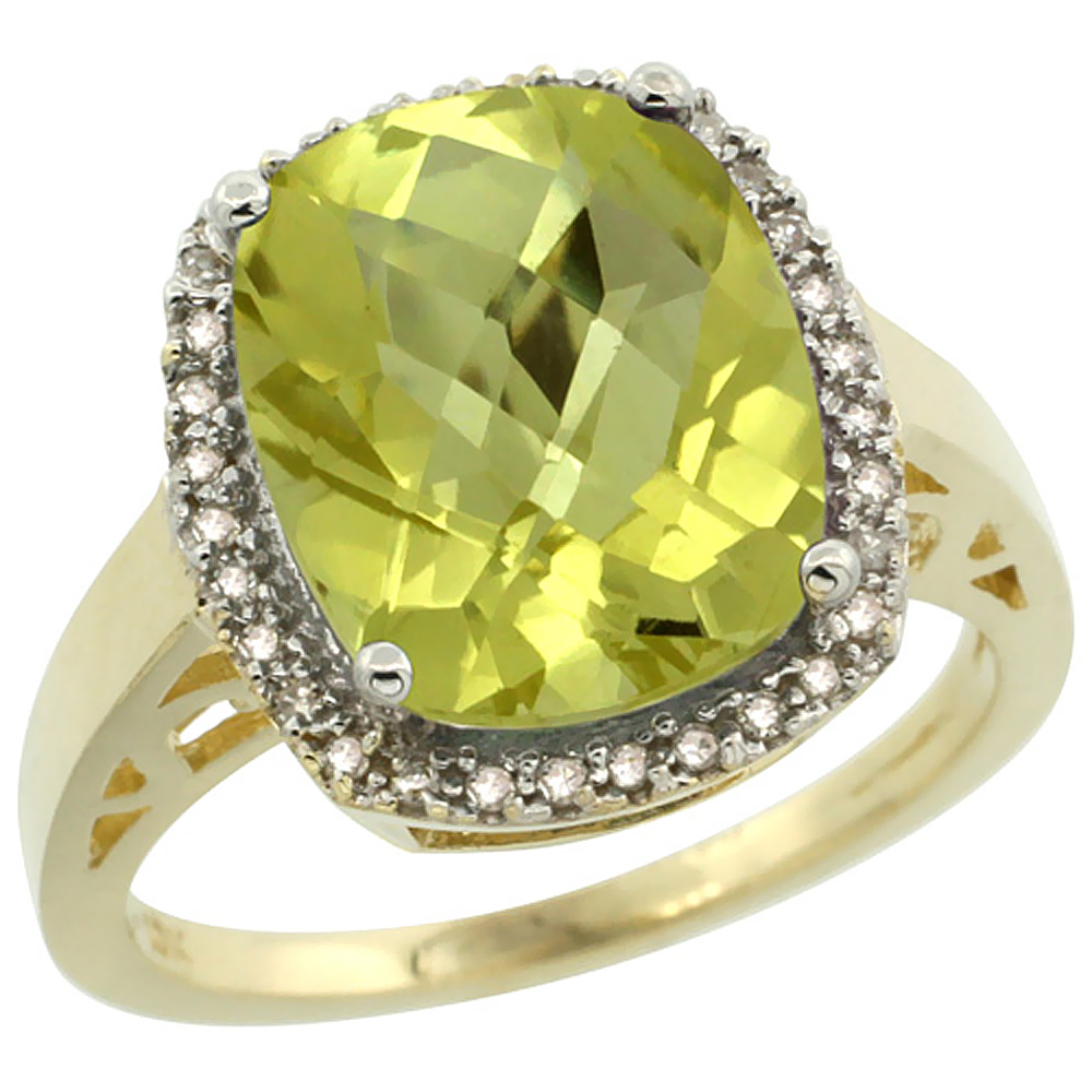 10K Yellow Gold Diamond Natural Lemon Quartz Ring Cushion-cut 12x10mm, size 5-10
