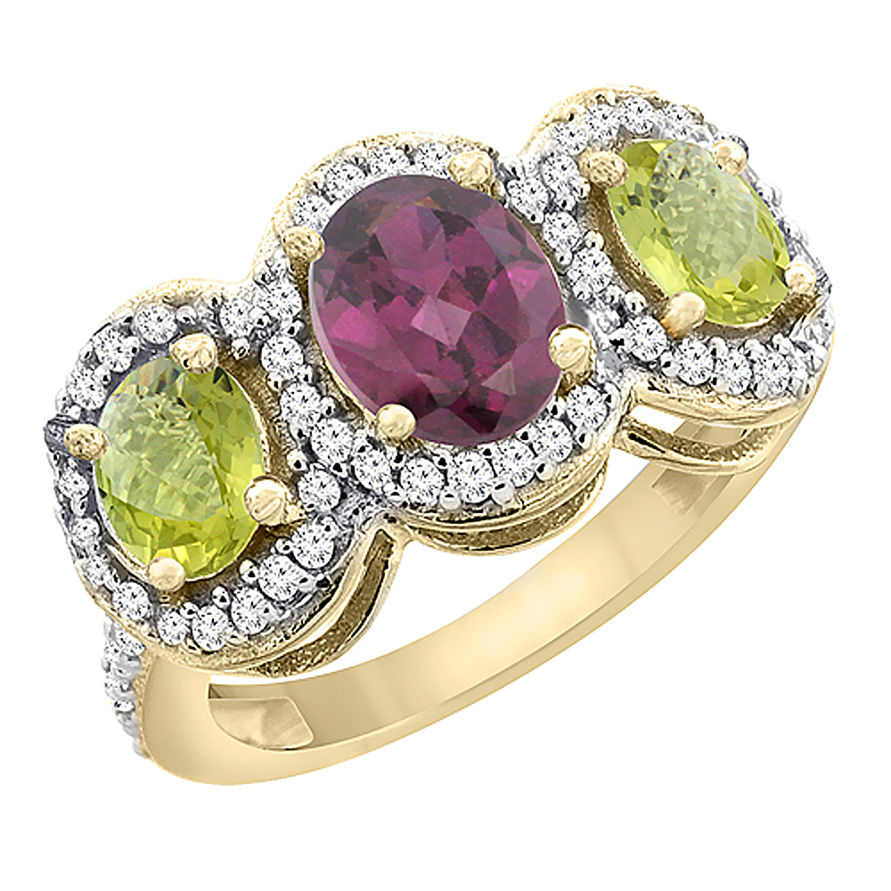 10K Yellow Gold Natural Rhodolite & Lemon Quartz 3-Stone Ring Oval Diamond Accent, sizes 5 - 10