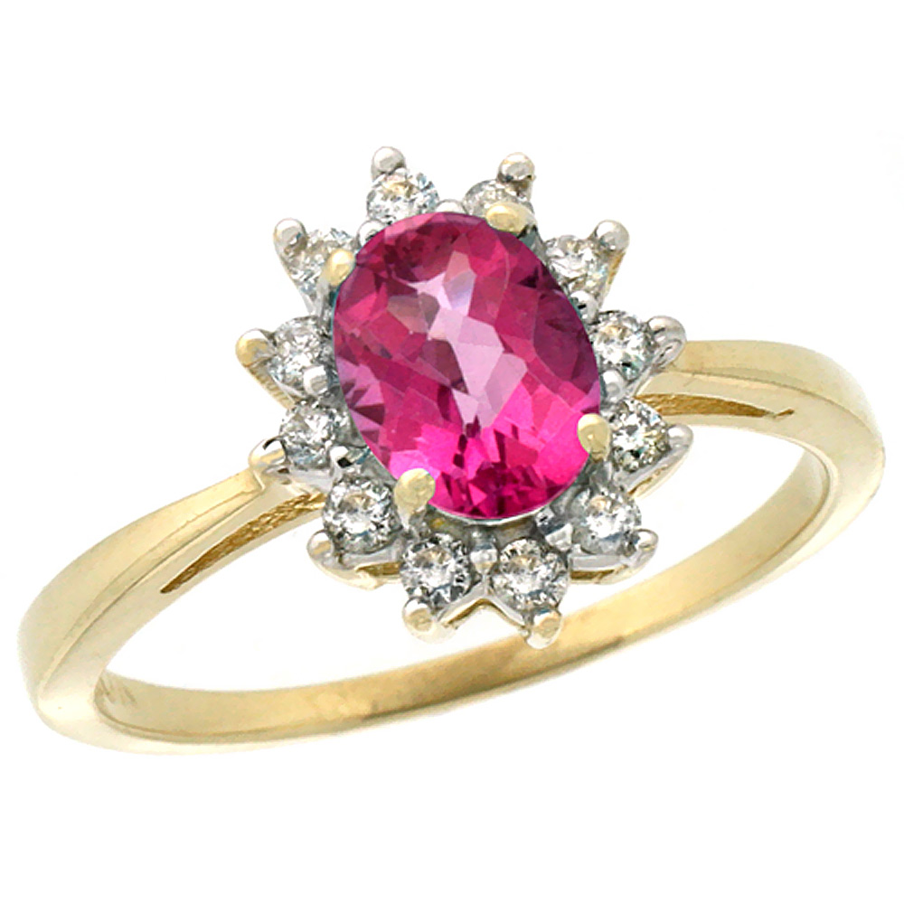 14K Yellow Gold Natural Pink Sapphire Engagement Ring Oval 7x5mm Diamond Halo, sizes 5-10