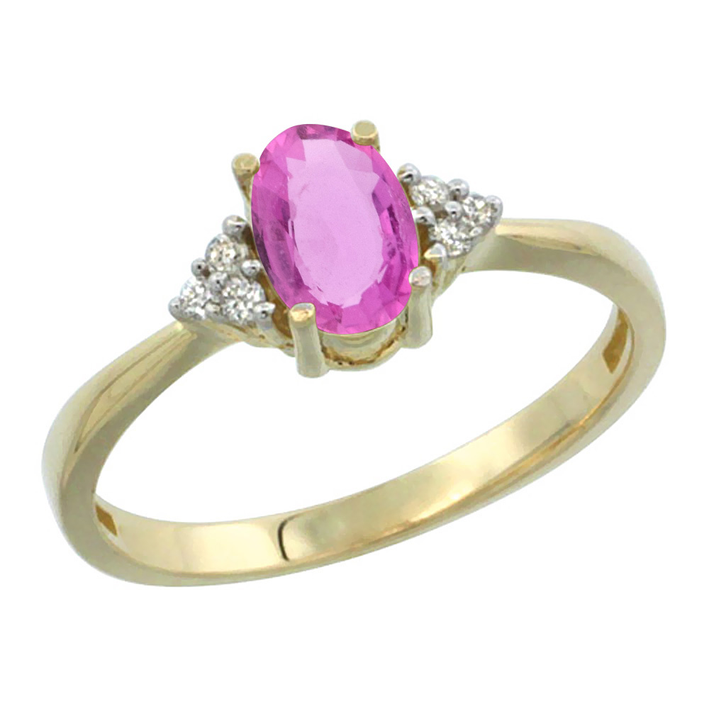 14K Yellow Gold Diamond Natural Pink Sapphire Engagement Ring Oval 7x5mm, sizes 5-10