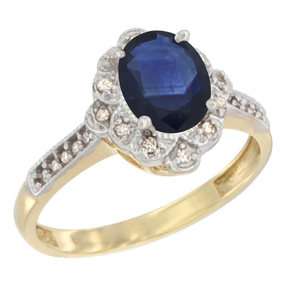 10K Yellow Gold Natural Australian Sapphire Ring Oval 8x6 mm Floral Diamond Halo, sizes 5 - 10