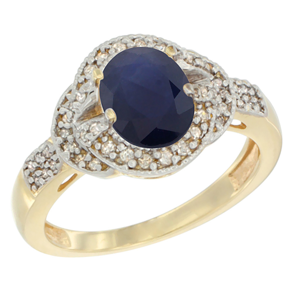 10K Yellow Gold Natural Australian Sapphire Ring Oval 8x6 mm Diamond Accent, sizes 5 - 10