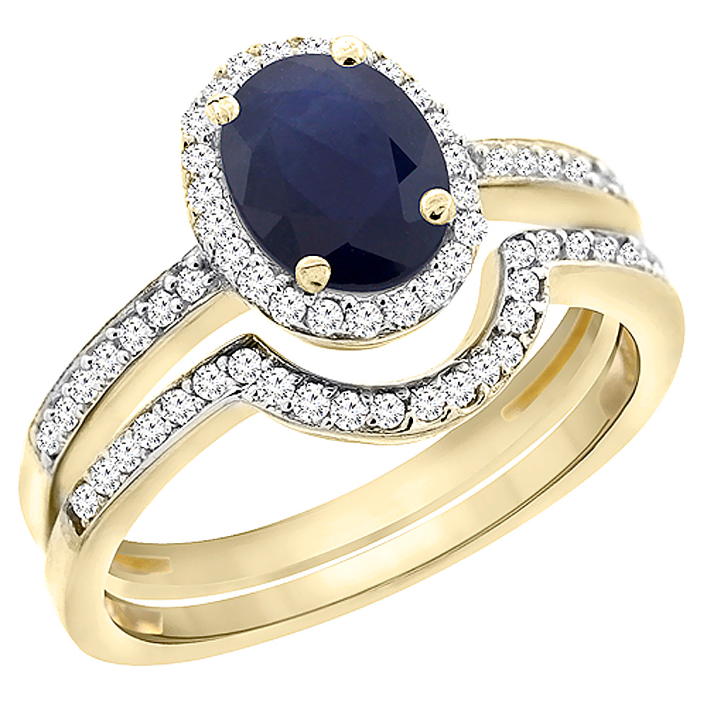 14K Yellow Gold Diamond Natural Australian Sapphire 2-Pc. Engagement Ring Set Oval 8x6 mm, sizes 5 - 10