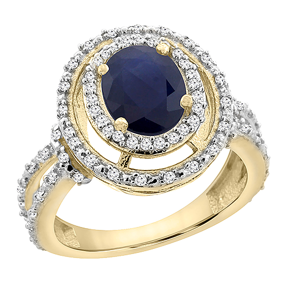 10K Yellow Gold Natural Australian Sapphire Ring Oval 8x6 mm Double Halo Diamond, sizes 5 - 10
