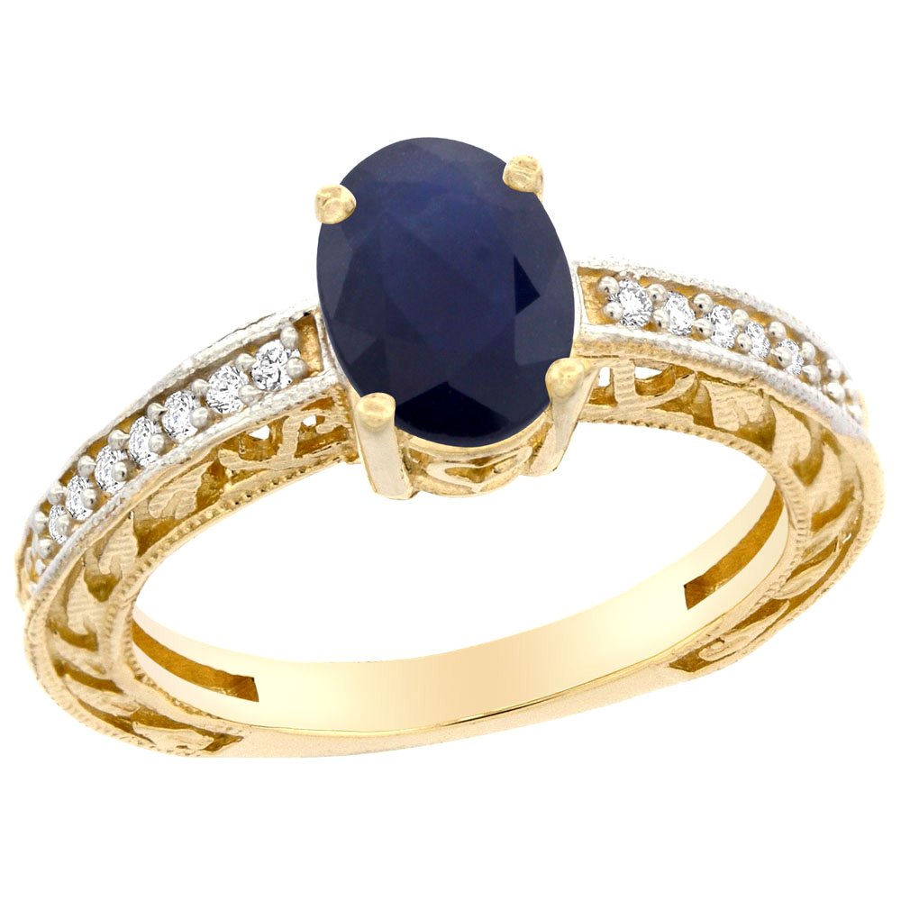10K Gold Natural Australian Sapphire Ring Oval 8x6 mm Diamond Accents, sizes 5 - 10