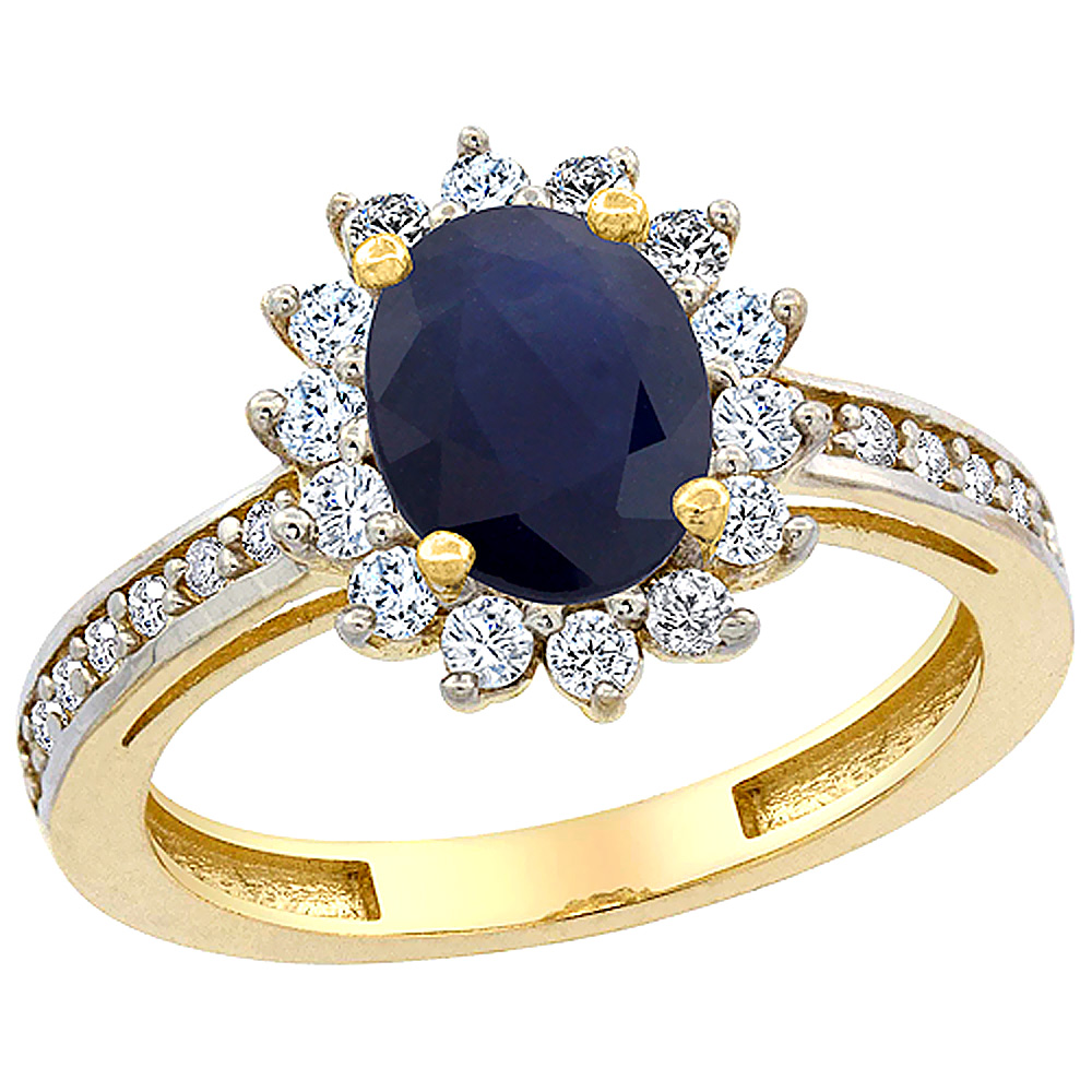 10K Yellow Gold Natural Australian Sapphire Floral Halo Ring Oval 8x6mm Diamond Accents, sizes 5 - 10