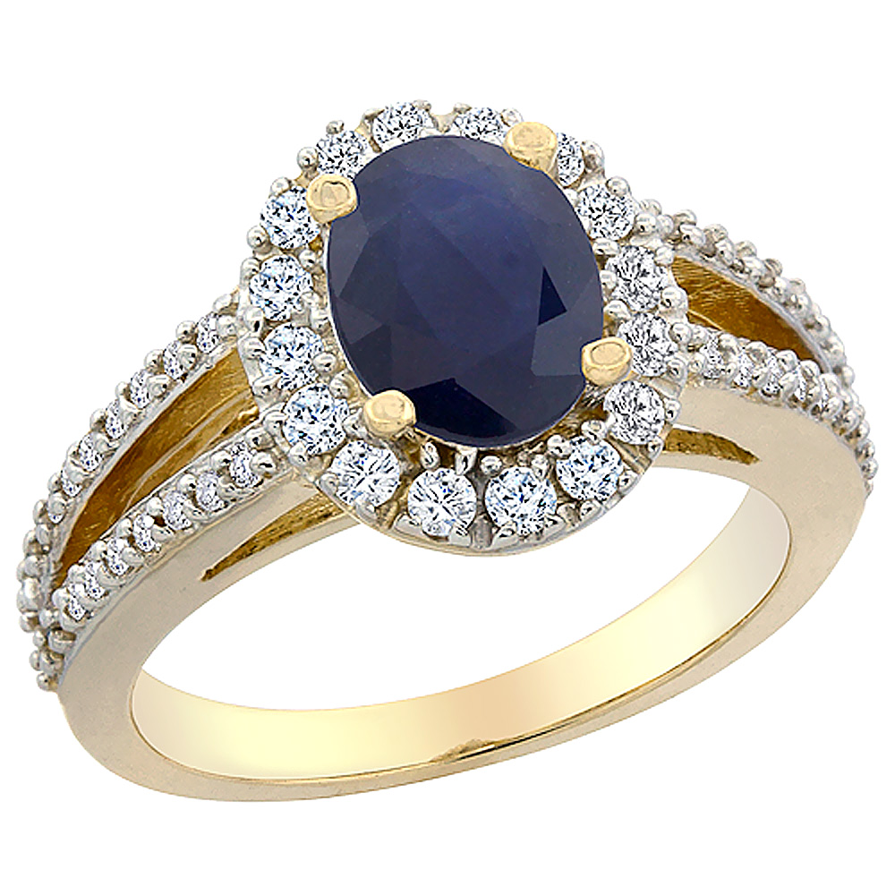 10K Yellow Gold Natural Australian Sapphire Halo Ring Oval 8x6 mm with Diamond Accents, sizes 5 - 10