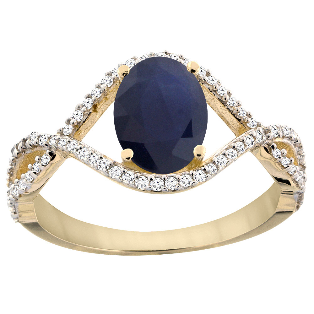 14K Yellow Gold Natural Australian Sapphire Ring Oval 8x6 mm Infinity Diamond Accents, sizes 5 - 10