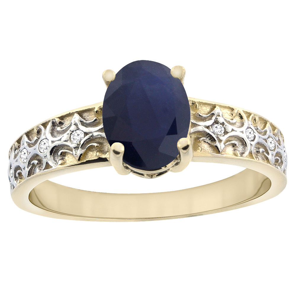 10K Yellow Gold Natural Australian Sapphire Ring Oval 8x6 mm Diamond Accents, sizes 5 - 10