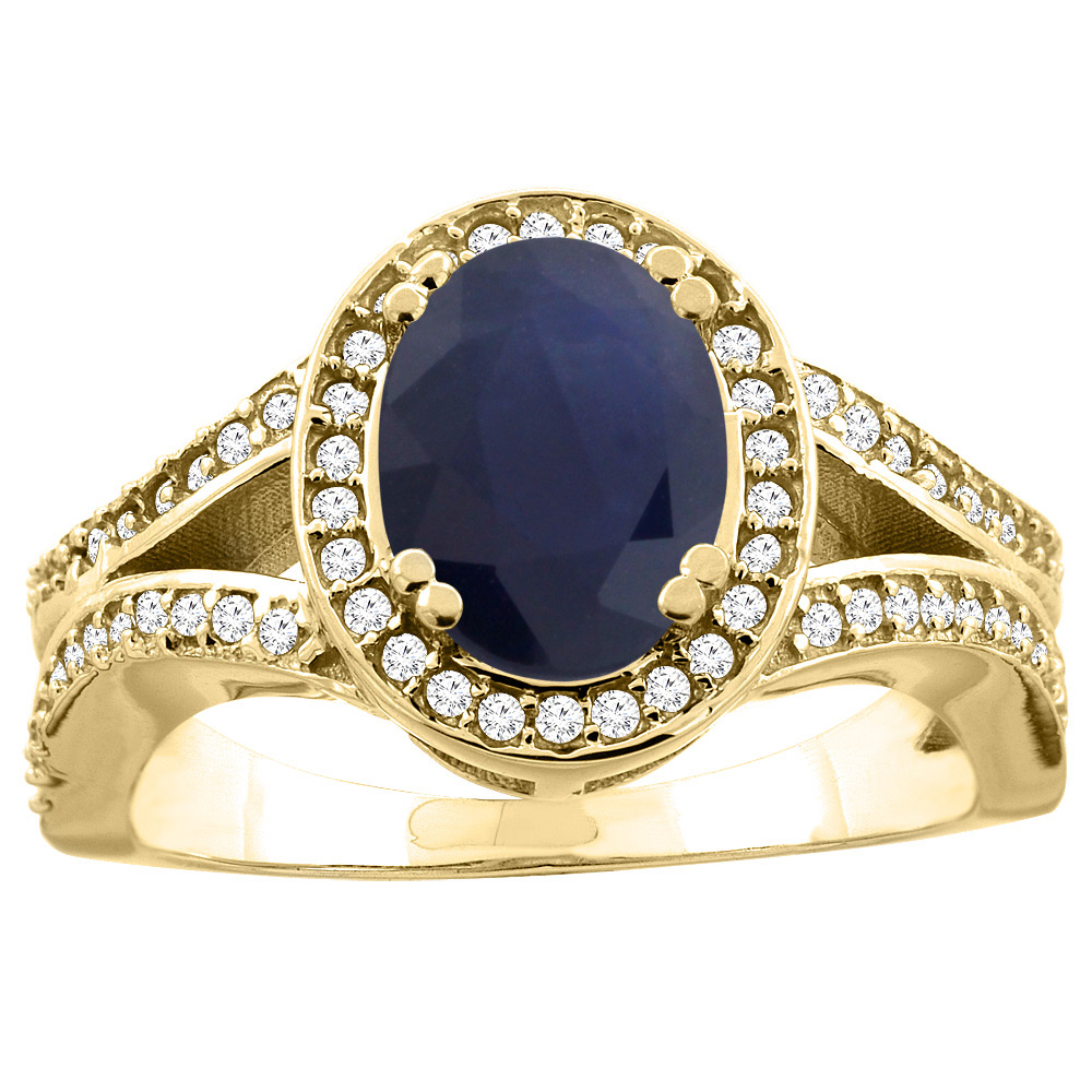 10K White/Yellow Gold Natural Australian Sapphire Split Ring Oval 8x6mm Diamond Accent, sizes 5 - 10