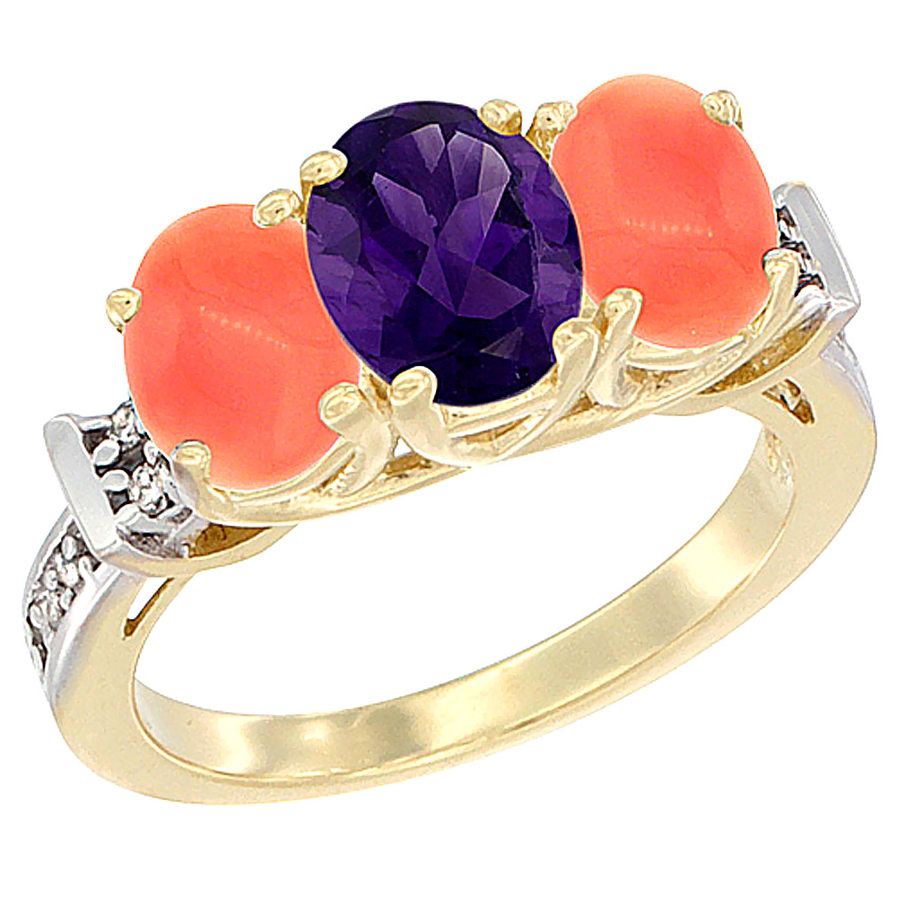 10K Yellow Gold Natural Amethyst & Coral Sides Ring 3-Stone Oval Diamond Accent, sizes 5 - 10