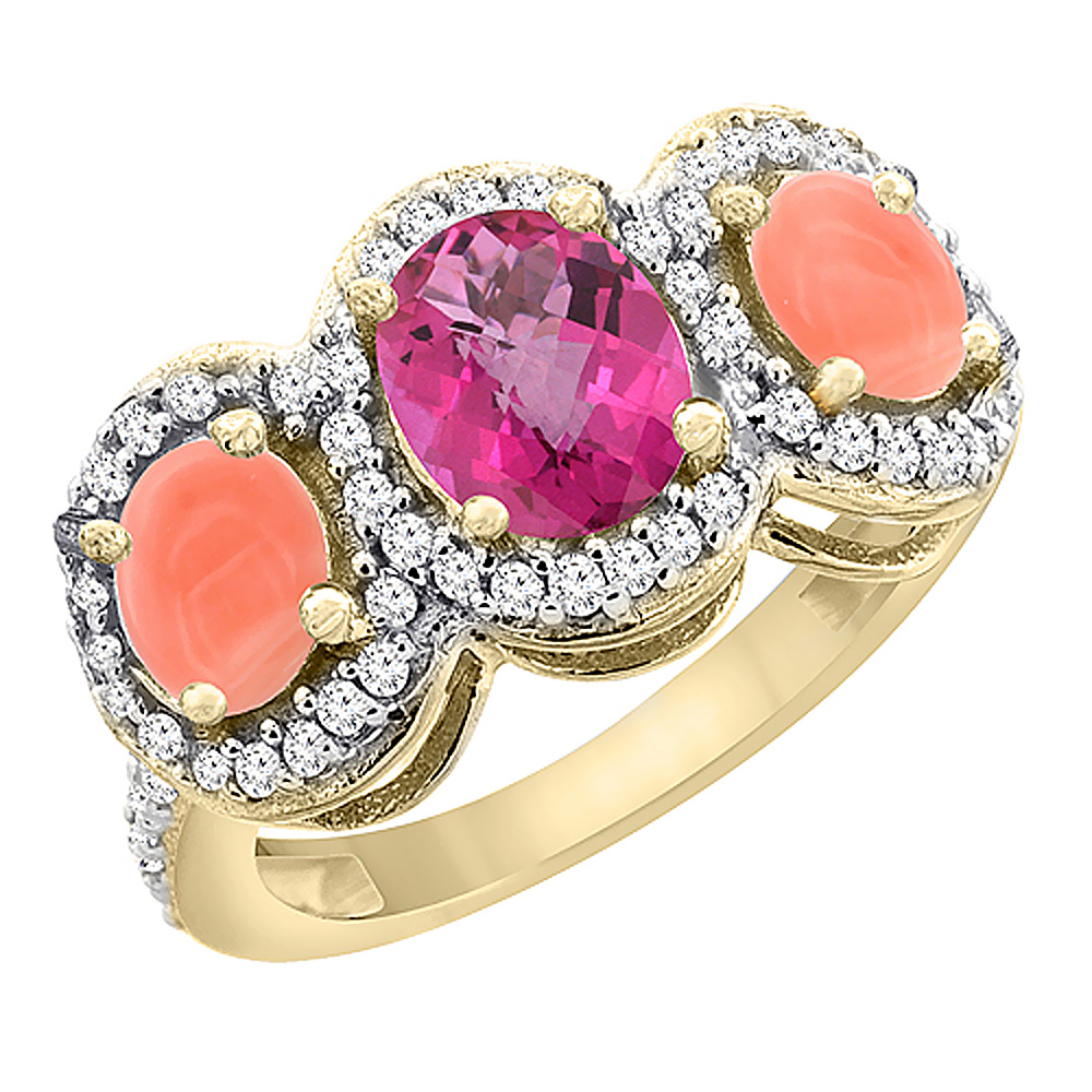 10K Yellow Gold Natural Pink Topaz & Coral 3-Stone Ring Oval Diamond Accent, sizes 5 - 10