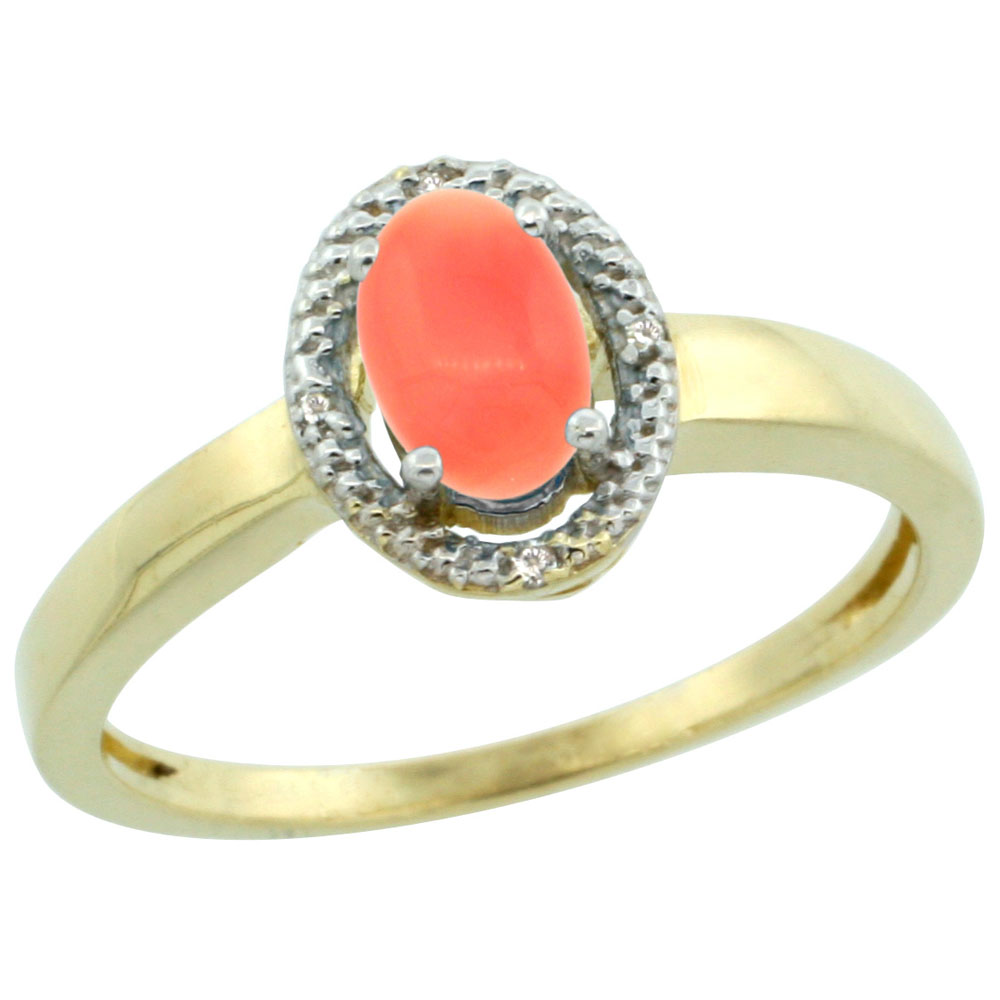 14K Yellow Gold Diamond Halo Natural Coral Engagement Ring Oval 6X4 mm, sizes 5-10