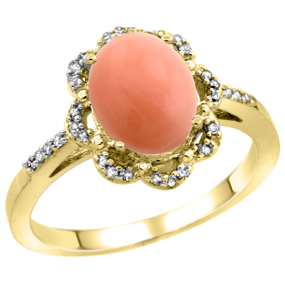 10K Yellow Gold Diamond Halo Natural Coral Engagement Ring Oval 9x7mm, sizes 5-10
