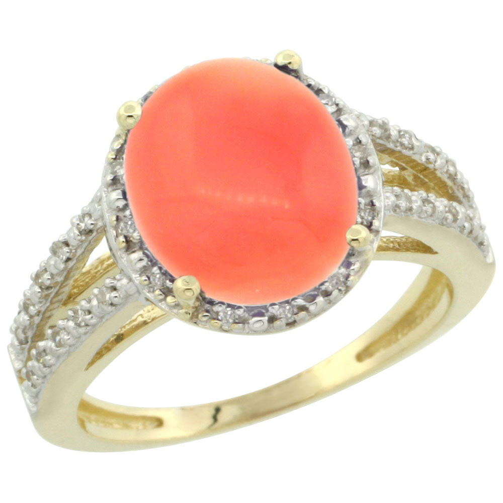 10K Yellow Gold Diamond Natural Coral Ring Oval 11x9mm, sizes 5-10
