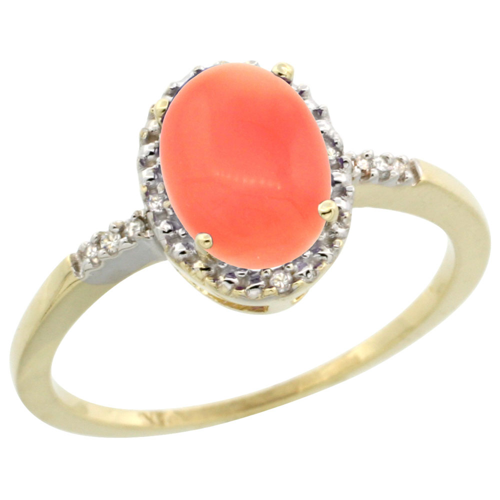10K Yellow Gold Diamond Natural Coral Ring Oval 8x6mm, sizes 5-10