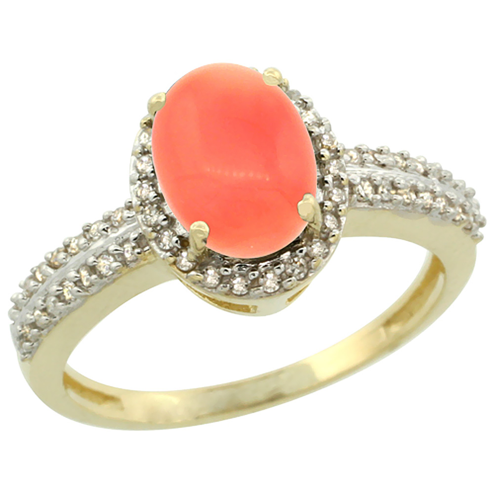10k Yellow Gold Natural Coral Ring Oval 8x6mm Diamond Halo, sizes 5-10