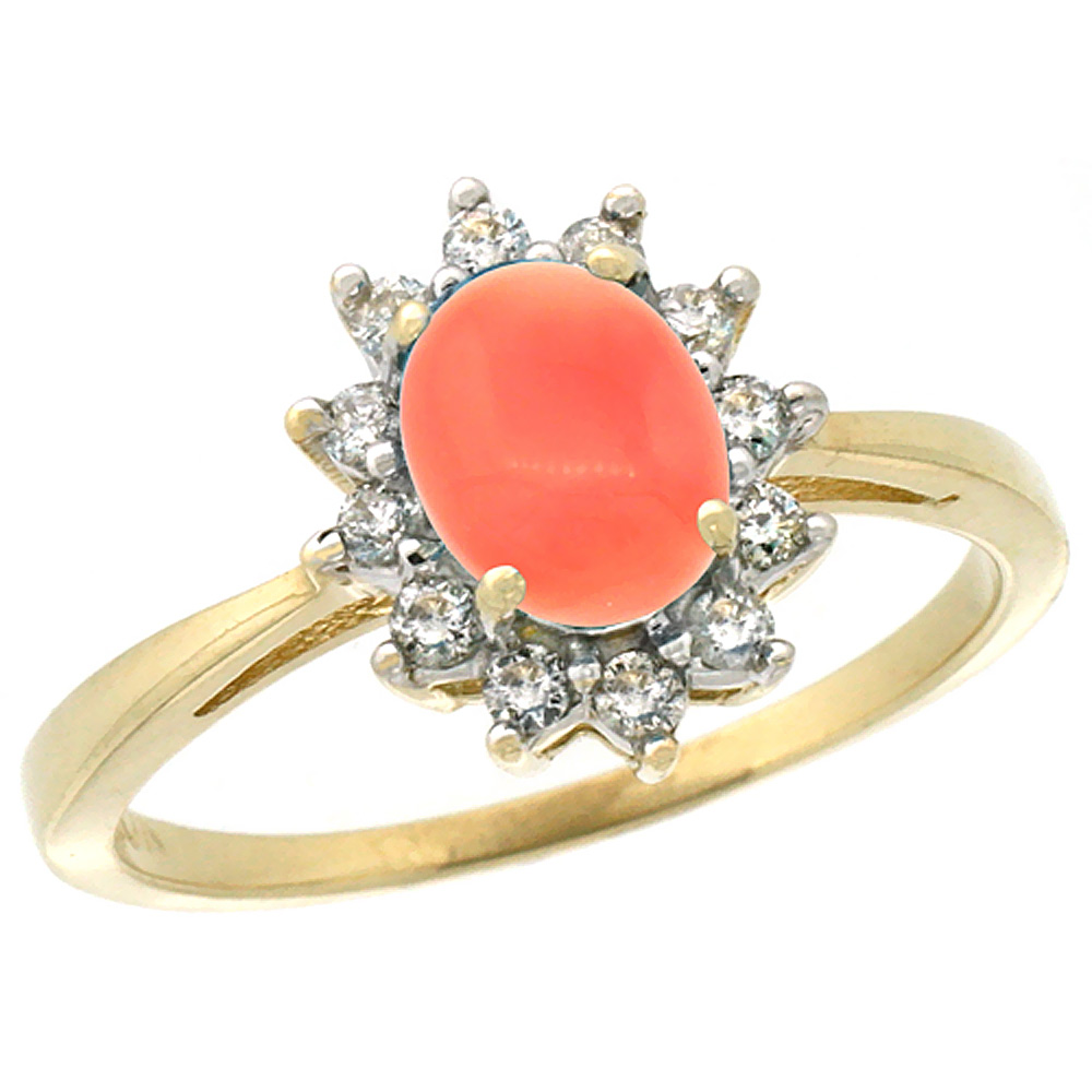 10k Yellow Gold Natural Coral Engagement Ring Oval 7x5mm Diamond Halo, sizes 5-10