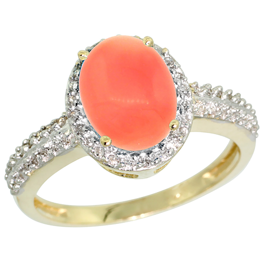 10K Yellow Gold Diamond Natural Coral Ring Oval 9x7mm, sizes 5-10