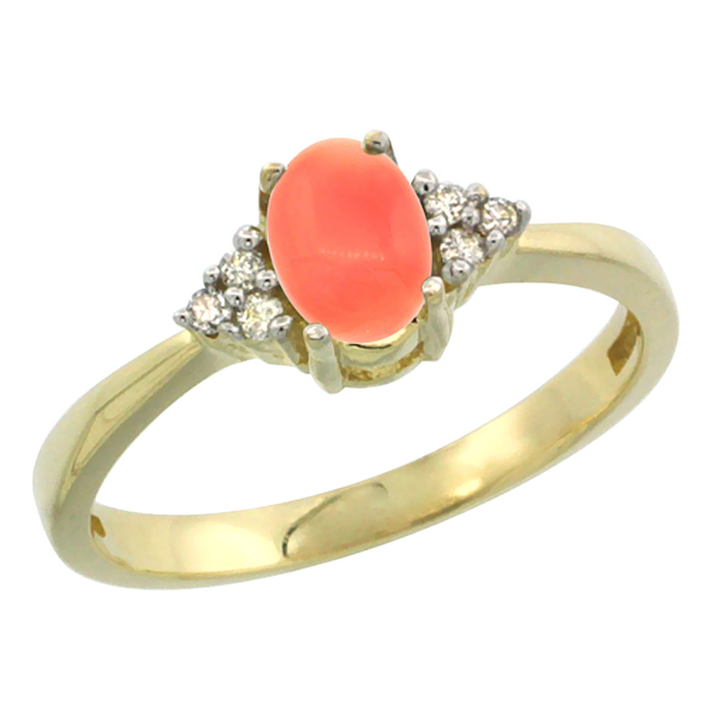 10K Yellow Gold Natural Coral Ring Oval 6x4mm Diamond Accent, sizes 5-10