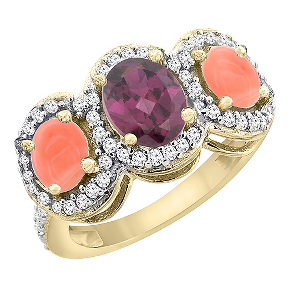 14K Yellow Gold Natural Rhodolite & Coral 3-Stone Ring Oval Diamond Accent, sizes 5 - 10