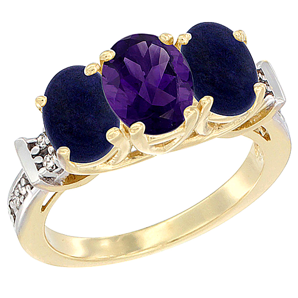 10K Yellow Gold Natural Amethyst & Lapis Sides Ring 3-Stone Oval Diamond Accent, sizes 5 - 10