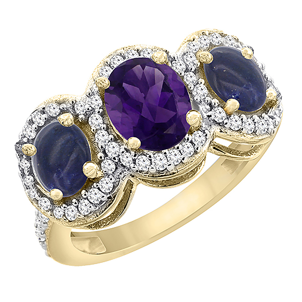 10K Yellow Gold Natural Amethyst & Lapis 3-Stone Ring Oval Diamond Accent, sizes 5 - 10
