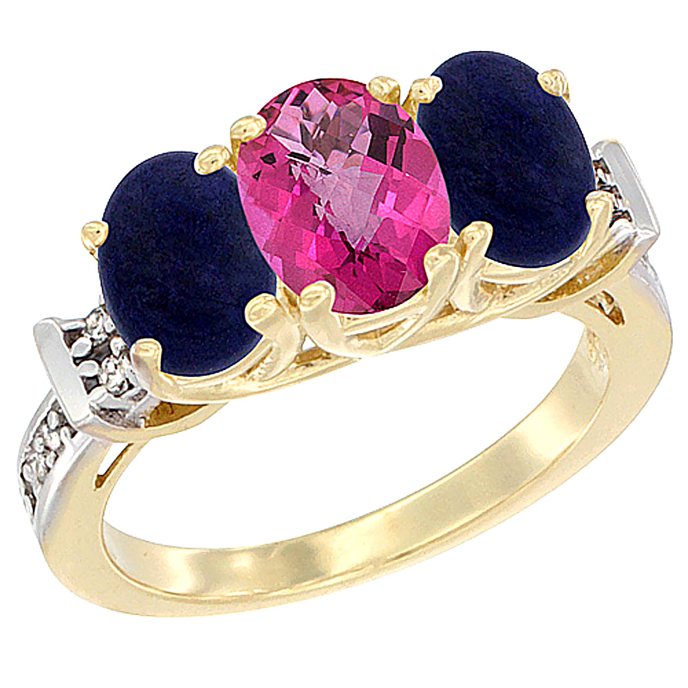 10K Yellow Gold Natural Pink Topaz & Lapis Sides Ring 3-Stone Oval Diamond Accent, sizes 5 - 10