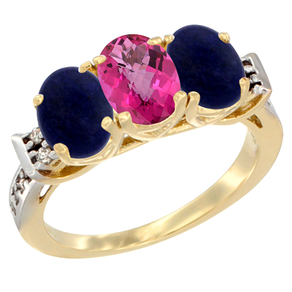 10K Yellow Gold Natural Pink Topaz & Lapis Sides Ring 3-Stone Oval 7x5 mm Diamond Accent, sizes 5 - 10