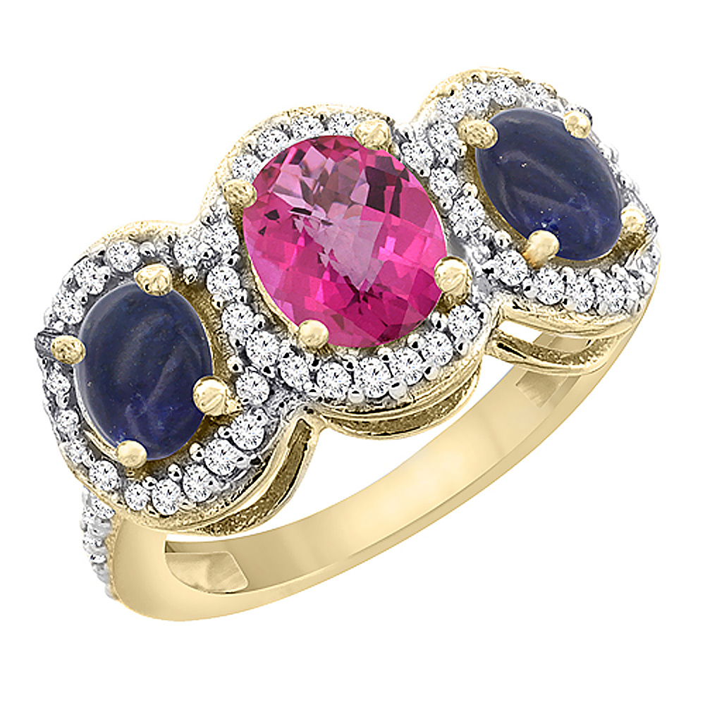 10K Yellow Gold Natural Pink Topaz & Lapis 3-Stone Ring Oval Diamond Accent, sizes 5 - 10