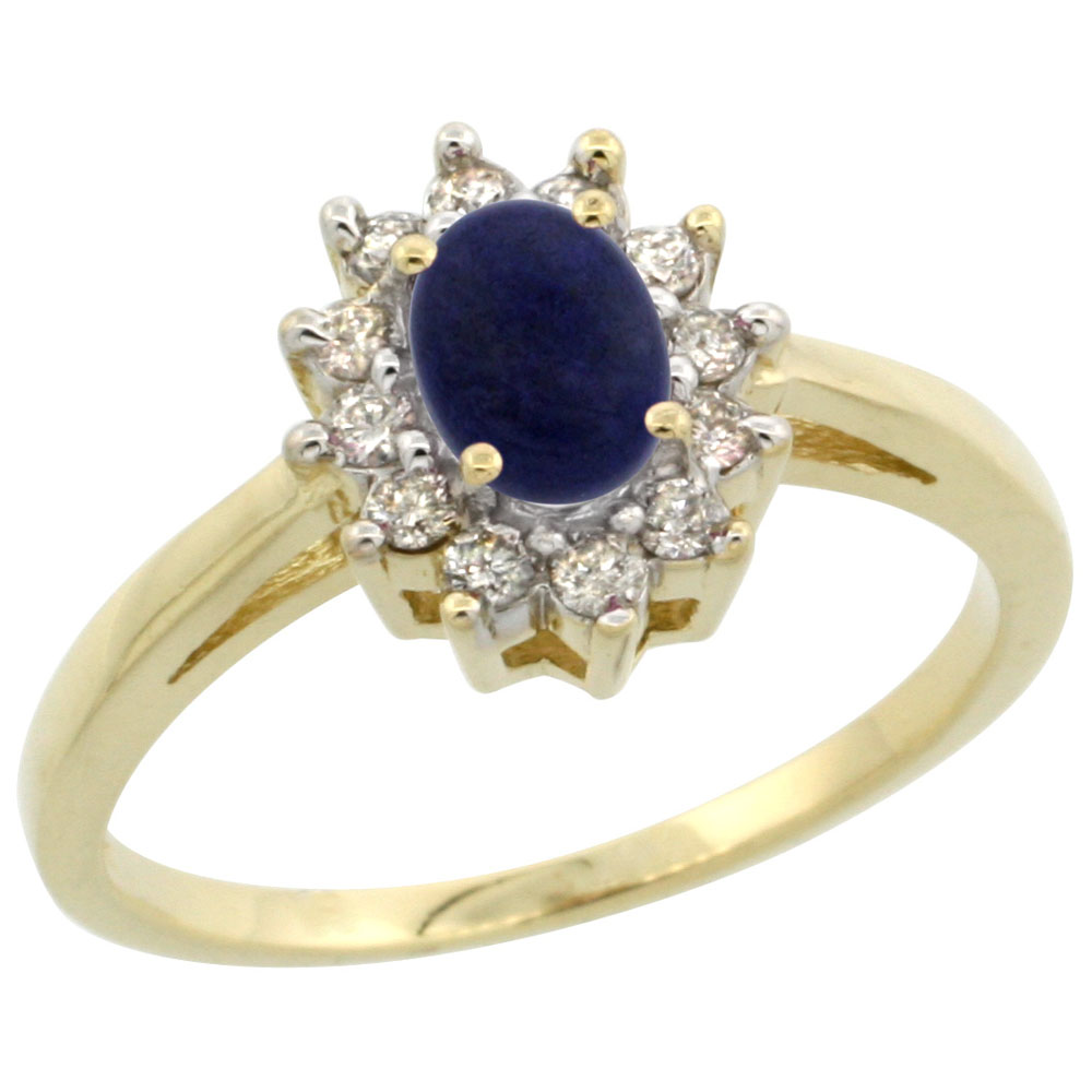 14K Yellow Gold Natural Lapis Flower Diamond Halo Ring Oval 6x4 mm, sizes 5 10