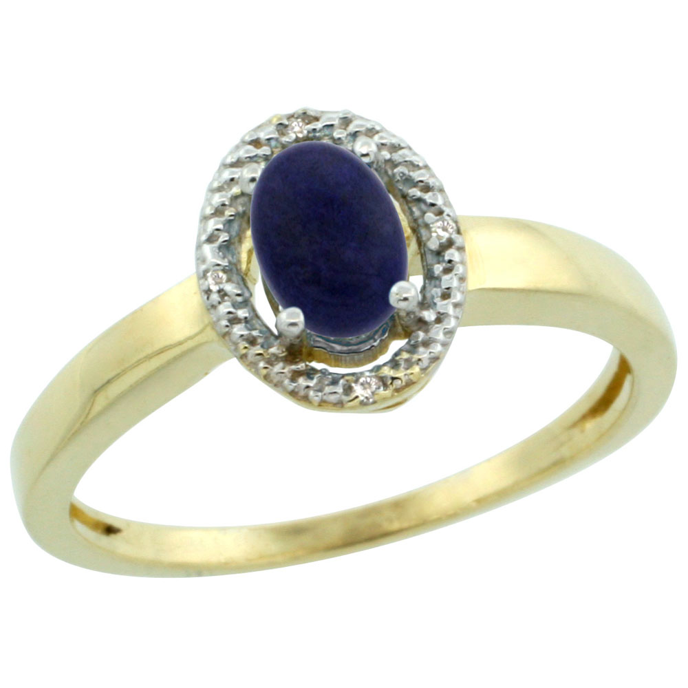 14K Yellow Gold Diamond Halo Natural Lapis Engagement Ring Oval 6X4 mm, sizes 5-10