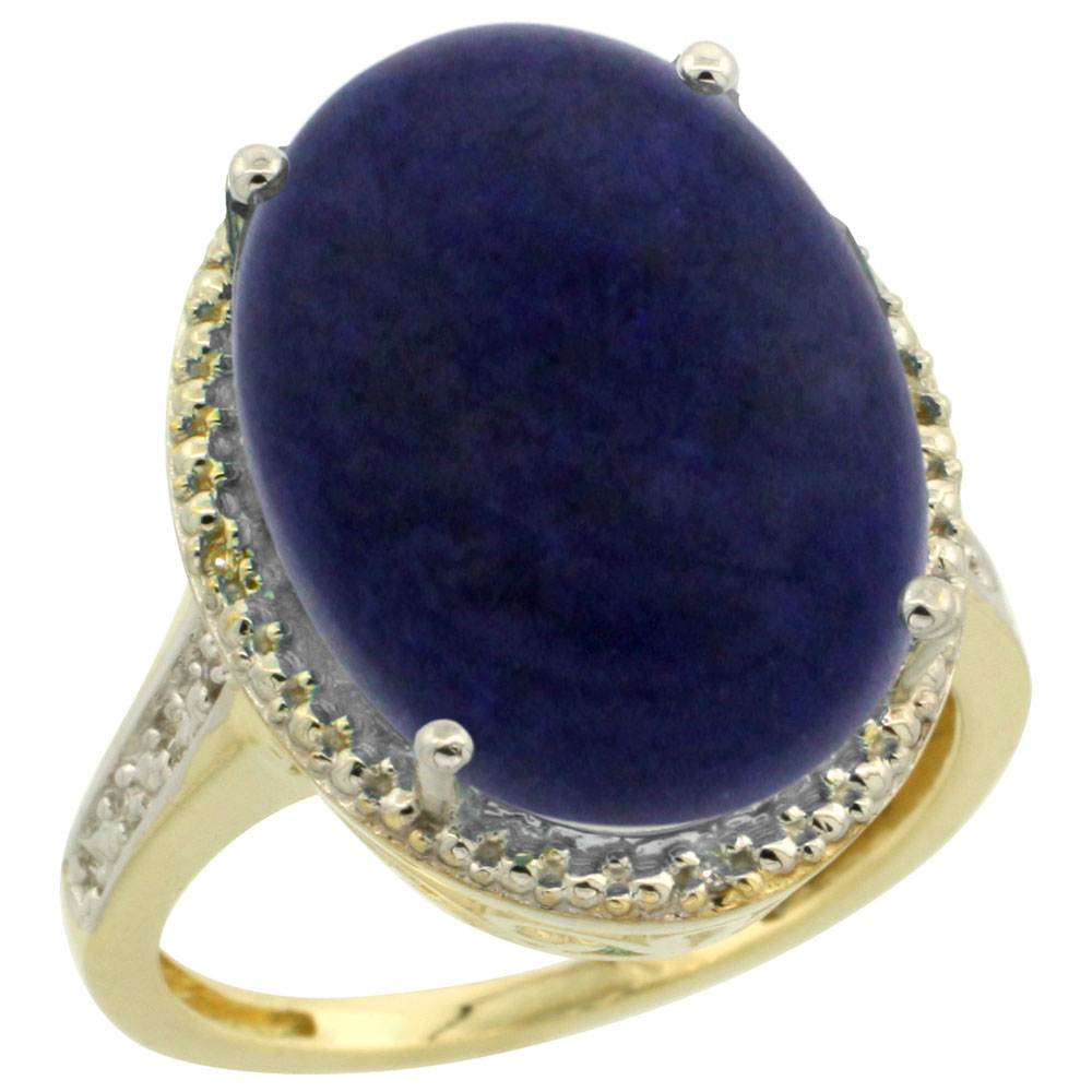 14K Yellow Gold Diamond Natural Lapis Ring Oval 18x13mm, sizes 5-10