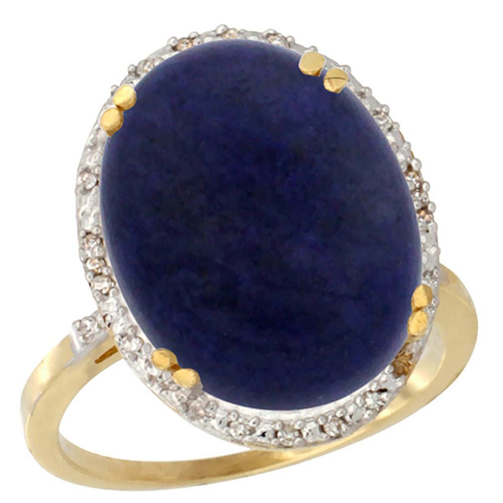 14K Yellow Gold Natural Lapis Ring Large Oval 18x13mm Diamond Halo, sizes 5-10